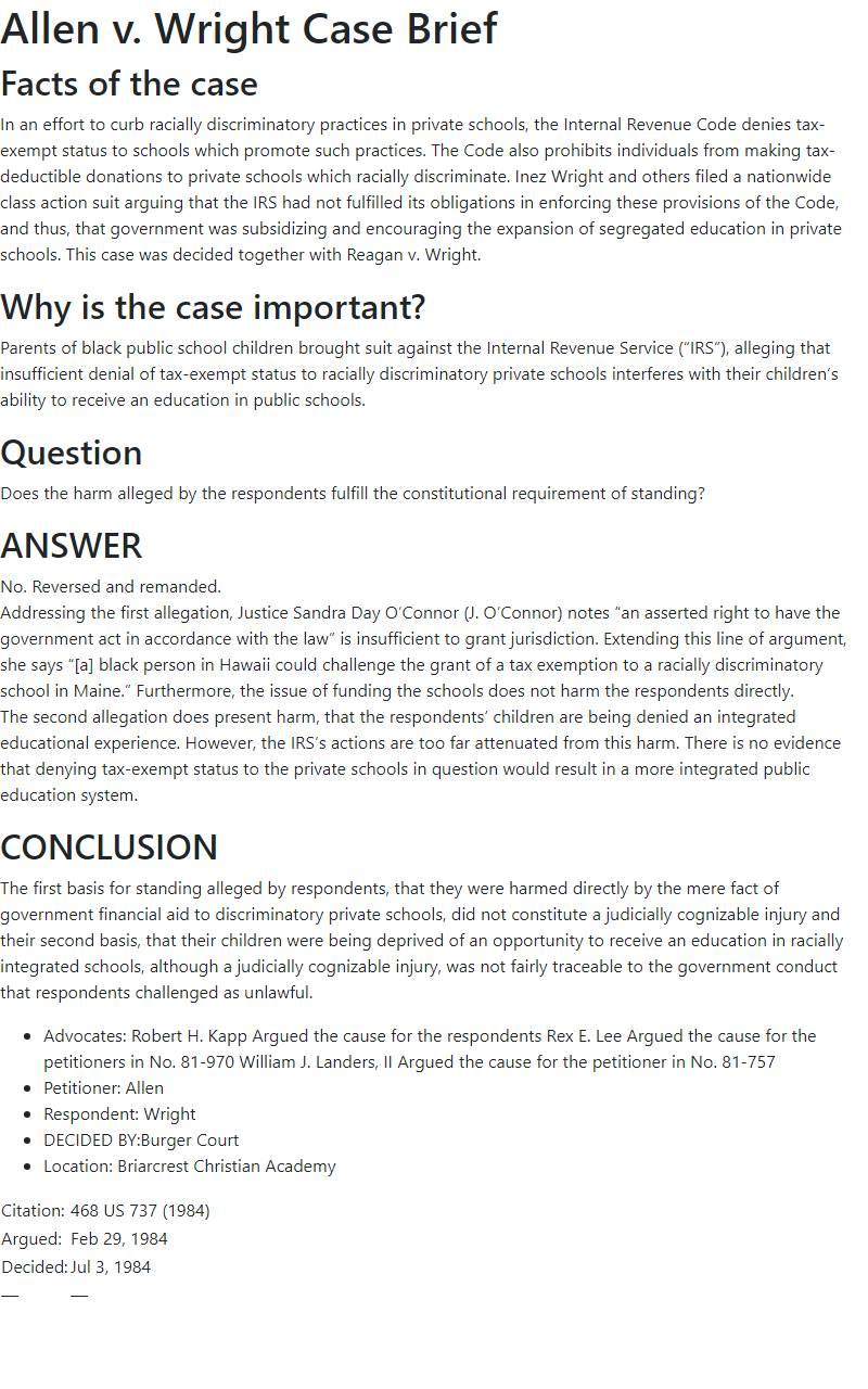 Allen v. Wright Case Brief