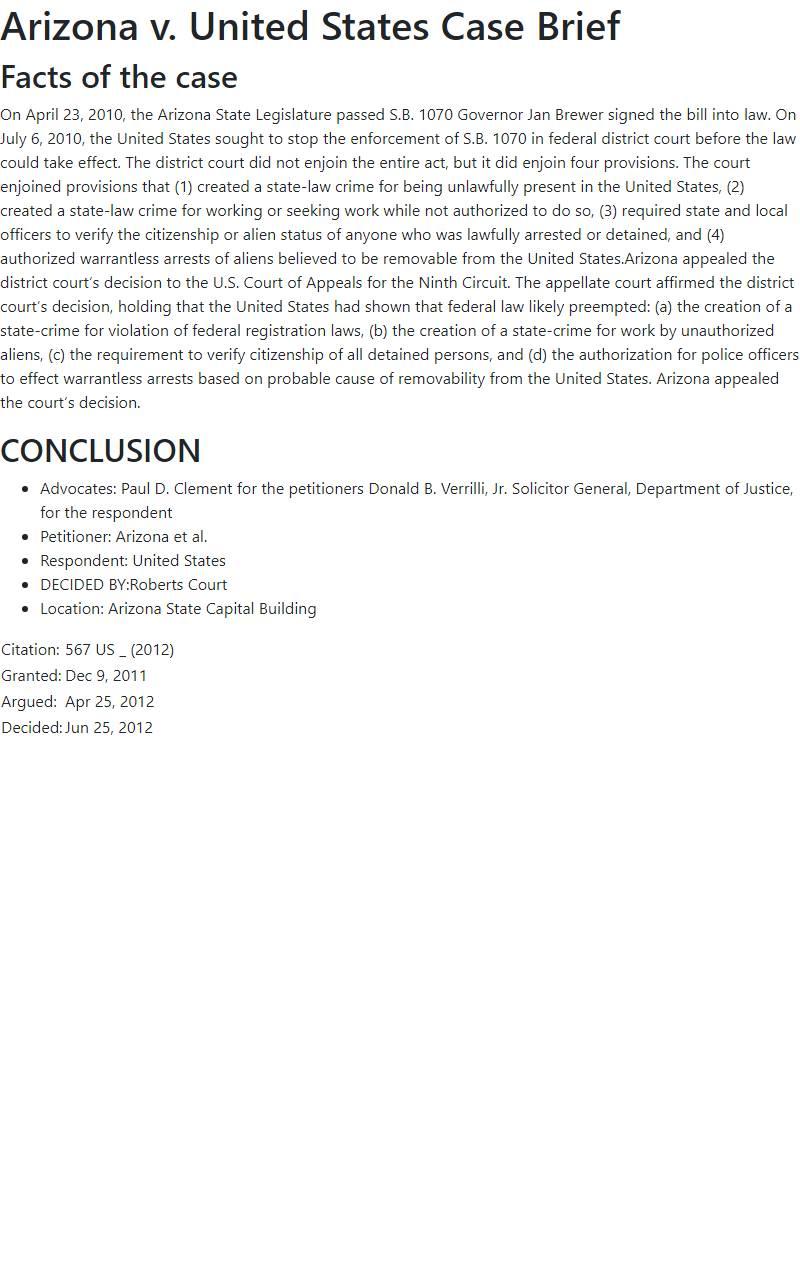 Arizona v. United States Case Brief