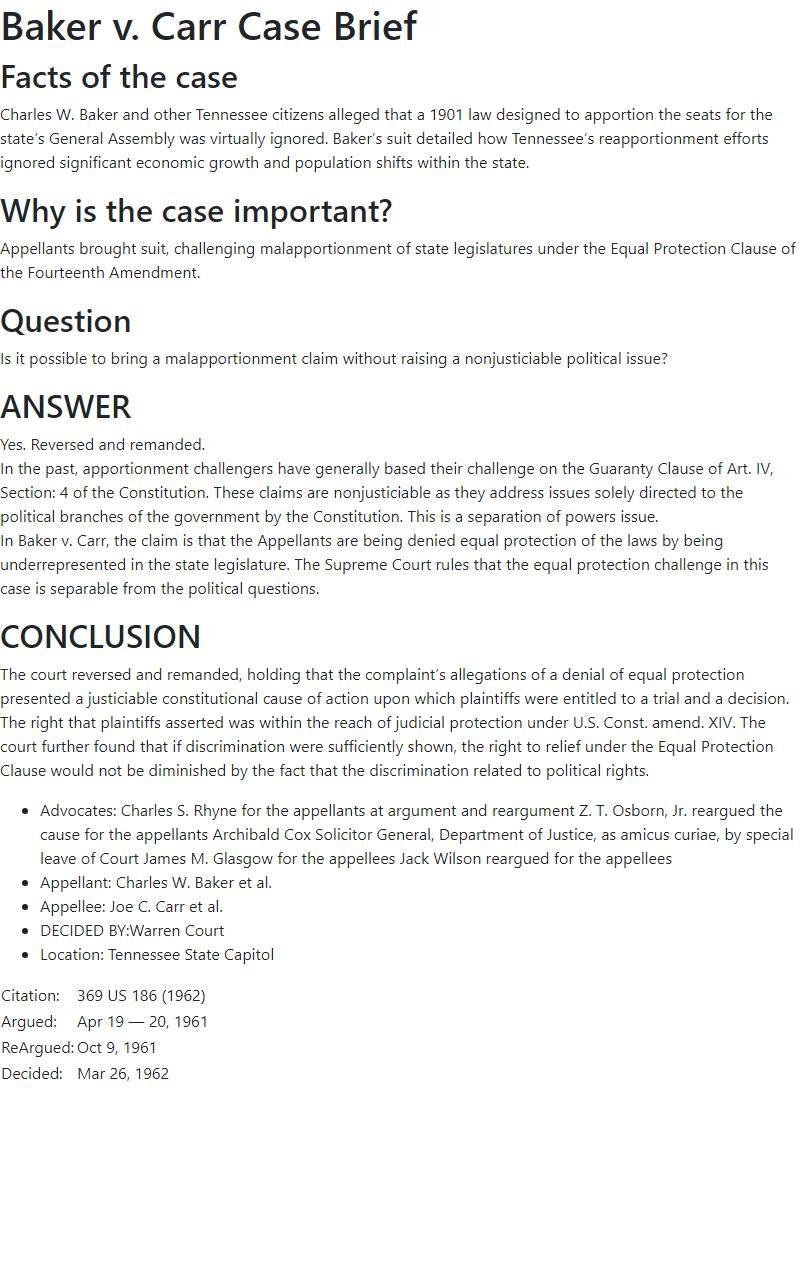Baker v. Carr Case Brief