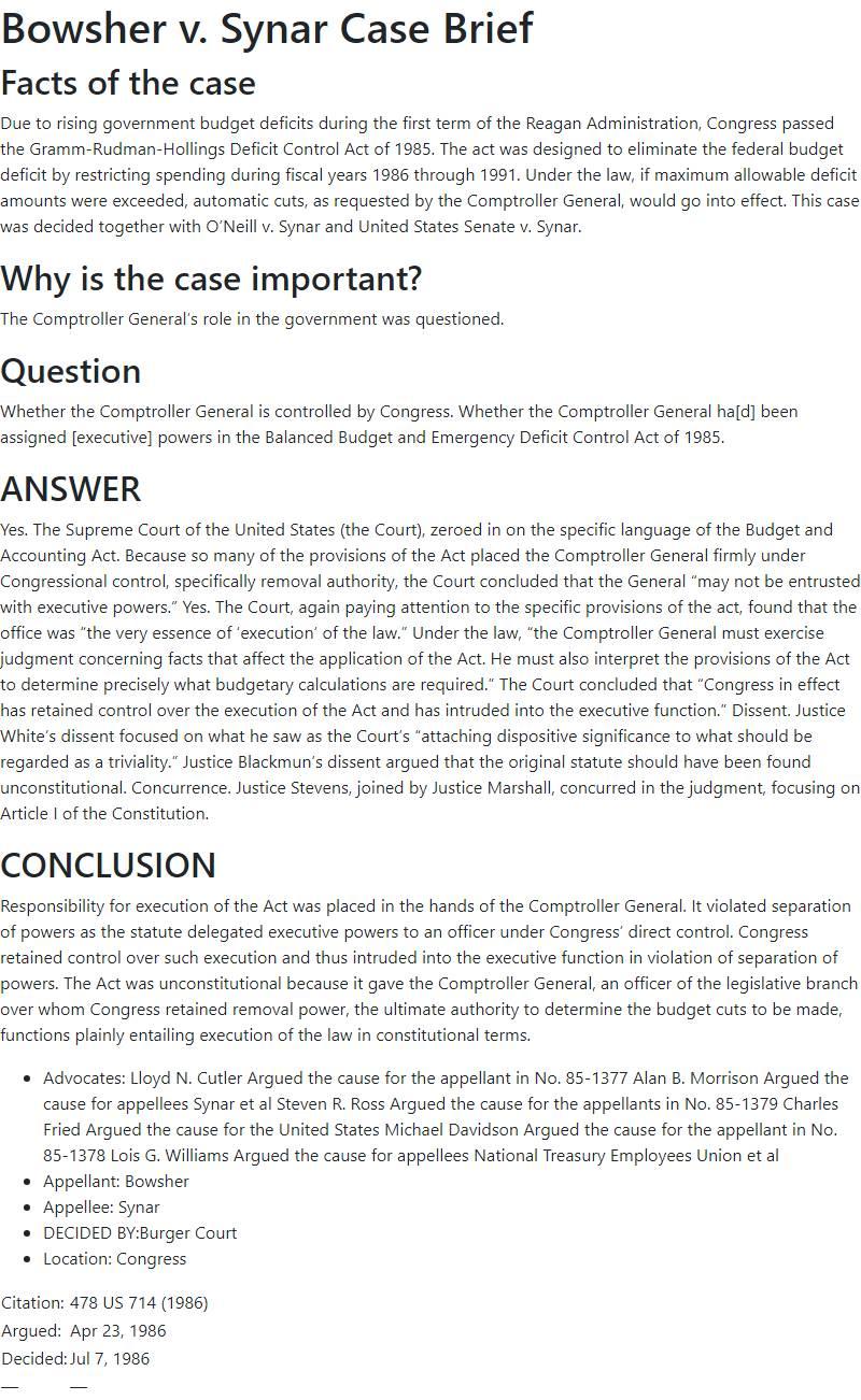 Bowsher v. Synar Case Brief