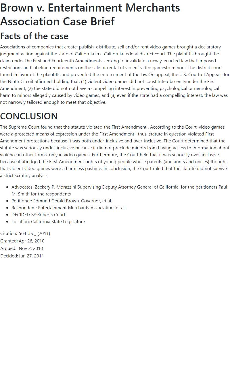 Brown v. Entertainment Merchants Association Case Brief