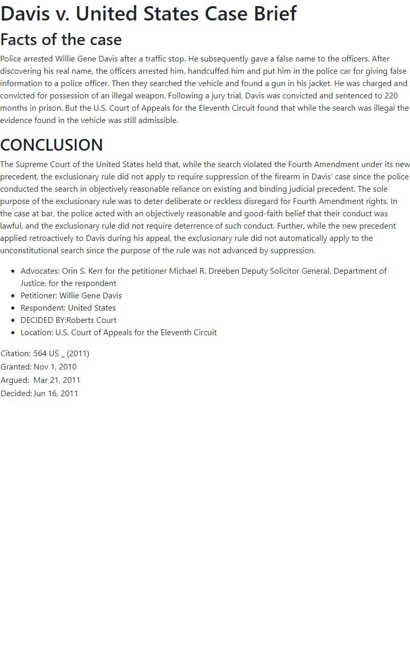 Davis v. United States Case Brief