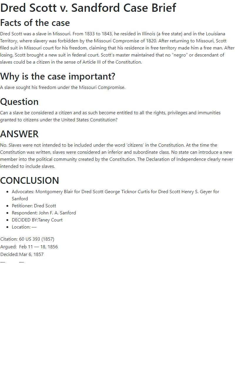 Dred Scott v. Sandford Case Brief