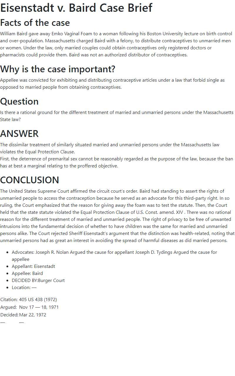 Eisenstadt v. Baird Case Brief