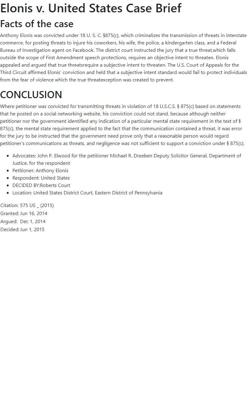 Elonis v. United States Case Brief