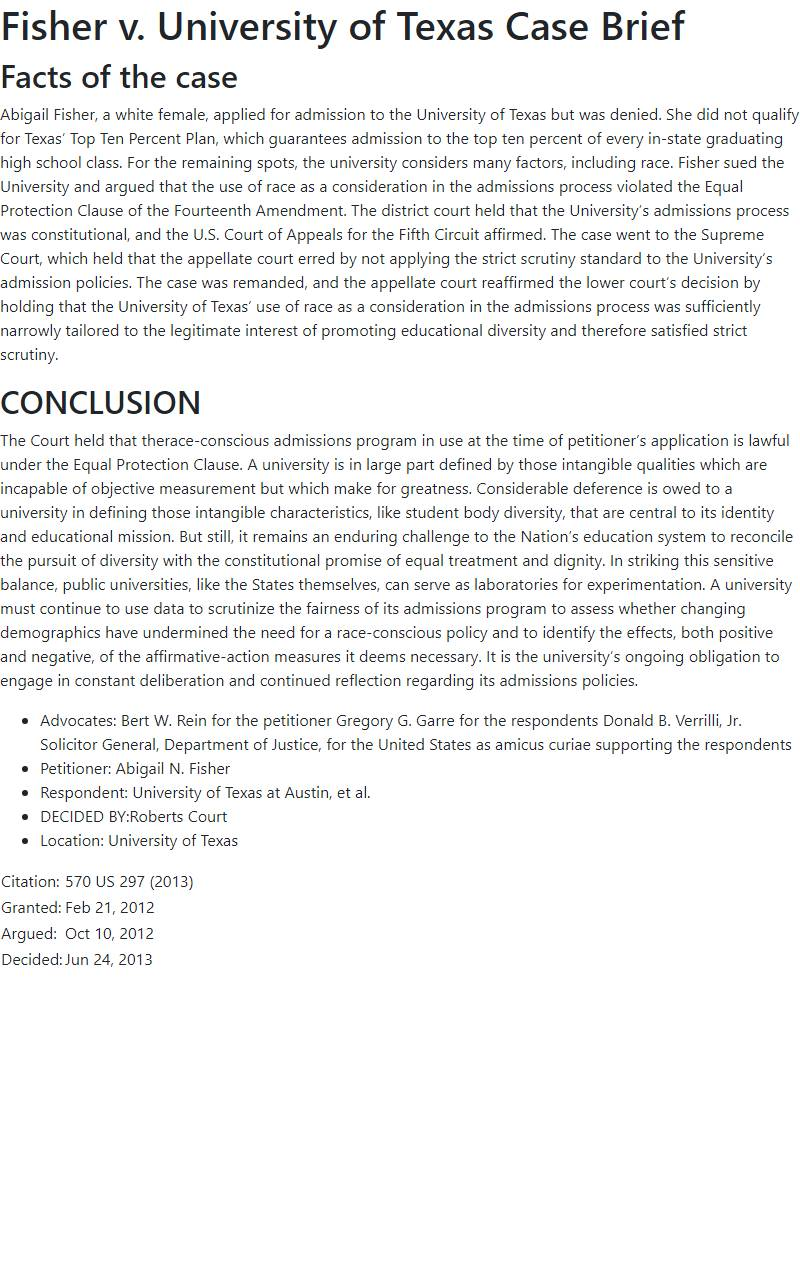 Fisher v. University of Texas Case Brief