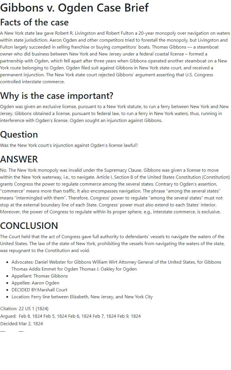 Gibbons v. Ogden Case Brief