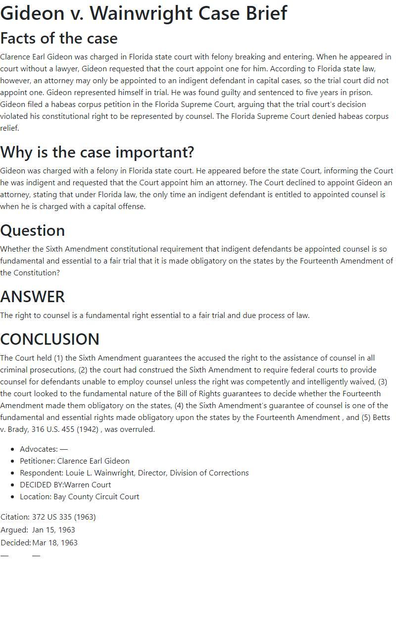 Gideon v. Wainwright Case Brief
