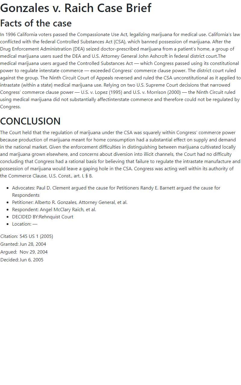 Gonzales v. Raich Case Brief
