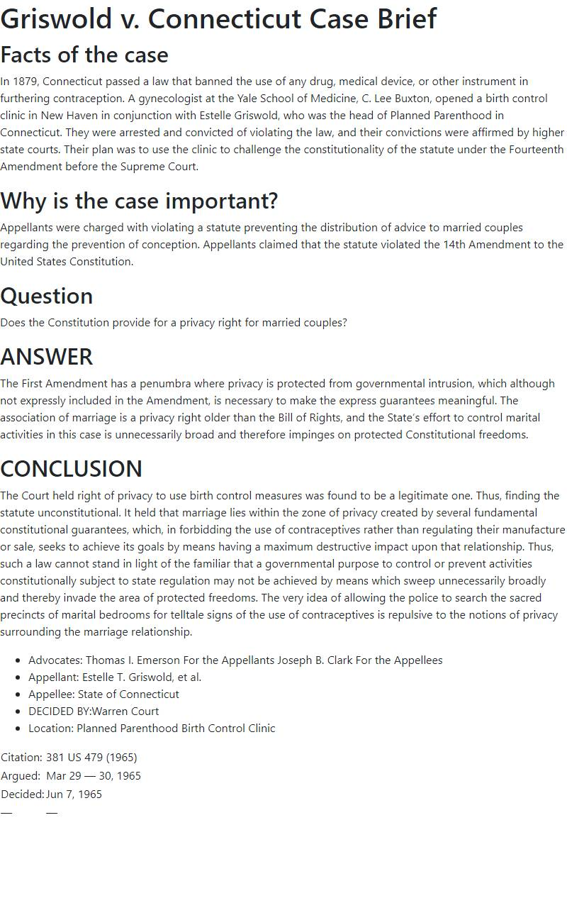 Griswold v. Connecticut Case Brief