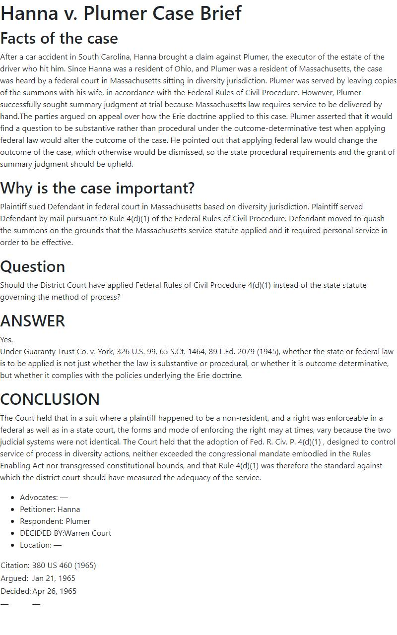 Hanna v. Plumer Case Brief
