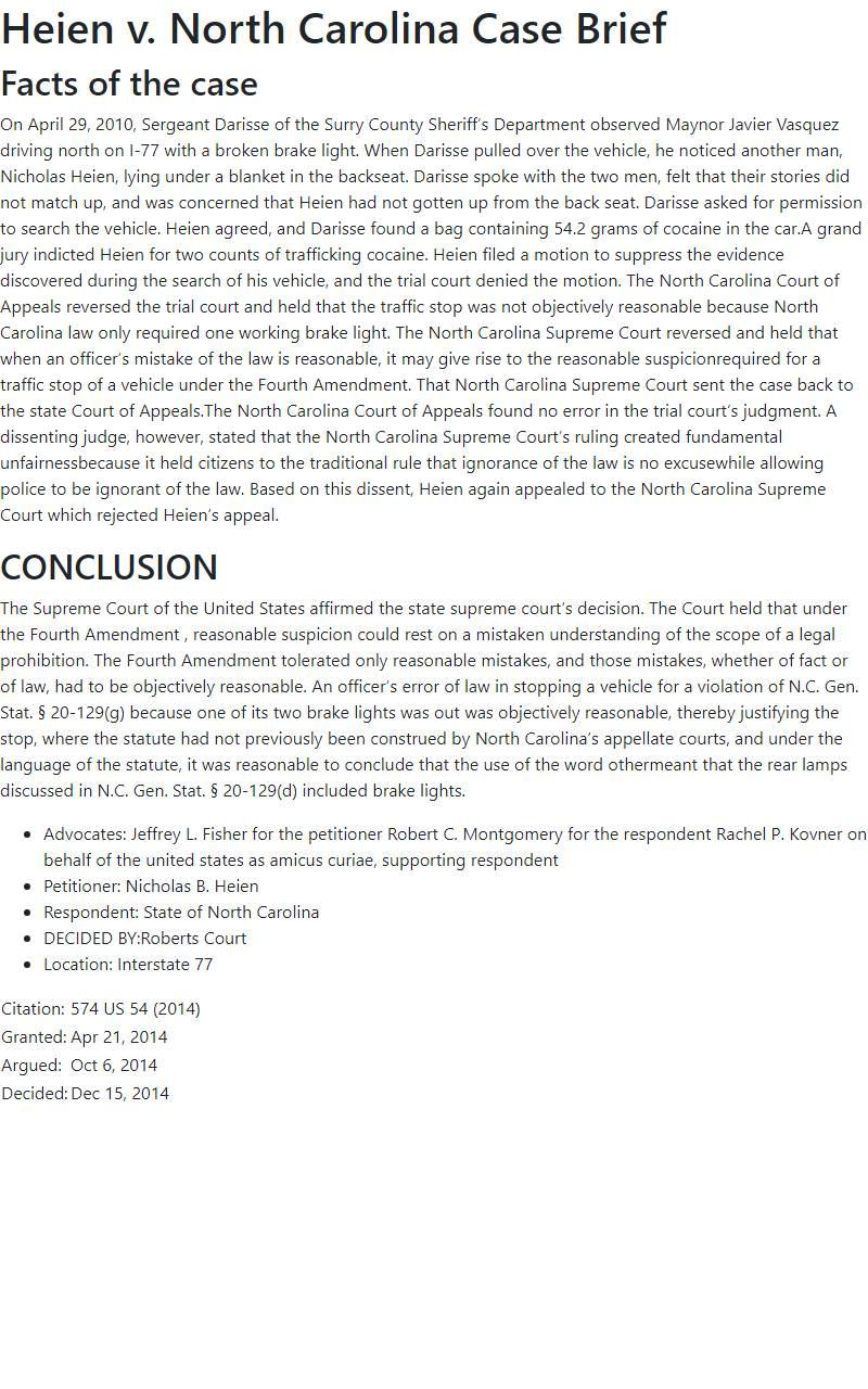 Heien v. North Carolina Case Brief