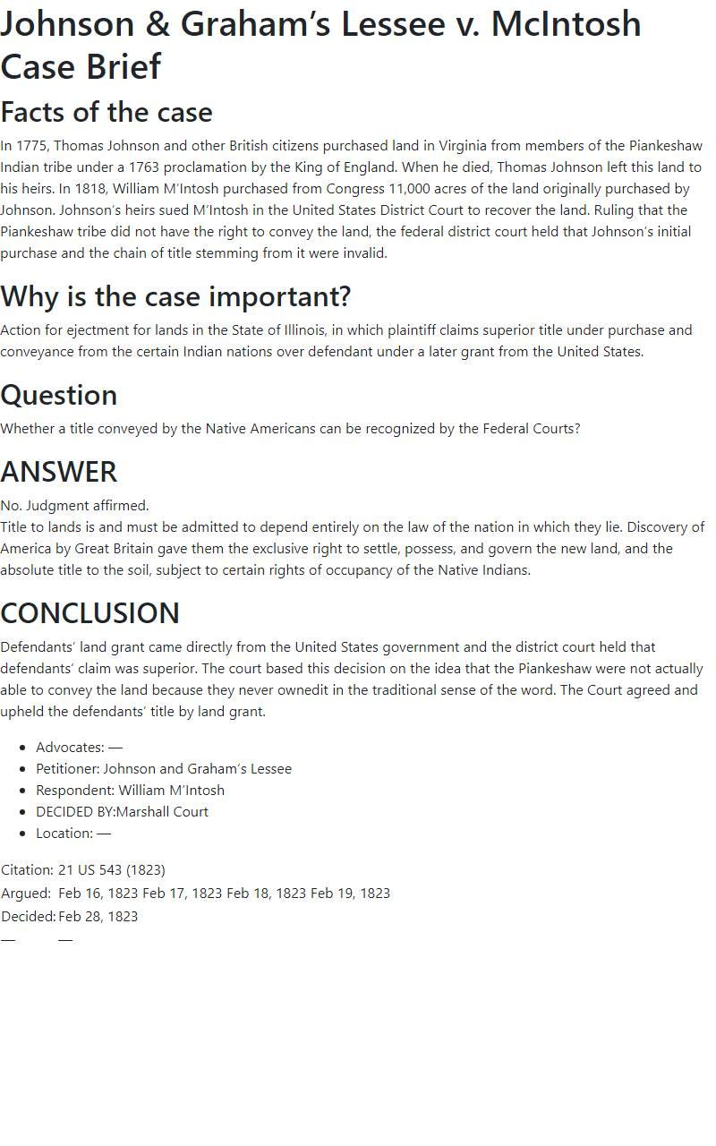 Johnson & Graham's Lessee v. McIntosh Case Brief