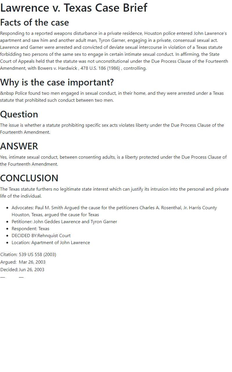 Lawrence v. Texas Case Brief
