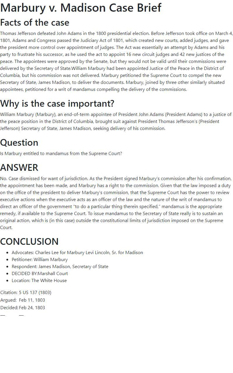 Marbury v. Madison Case Brief