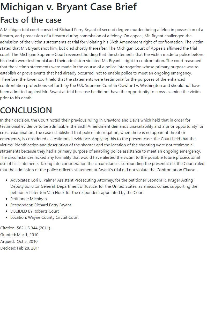 Michigan v. Bryant Case Brief