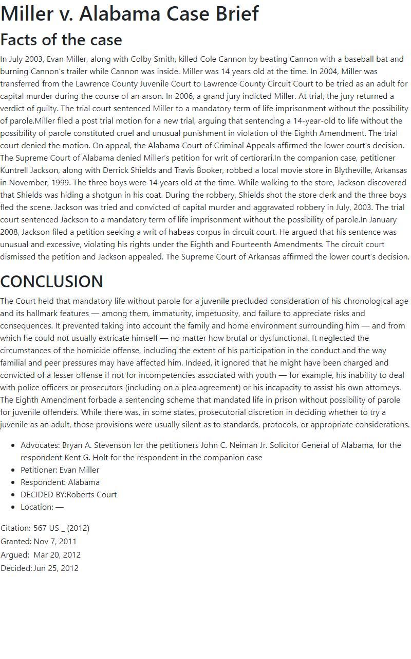 Miller v. Alabama Case Brief