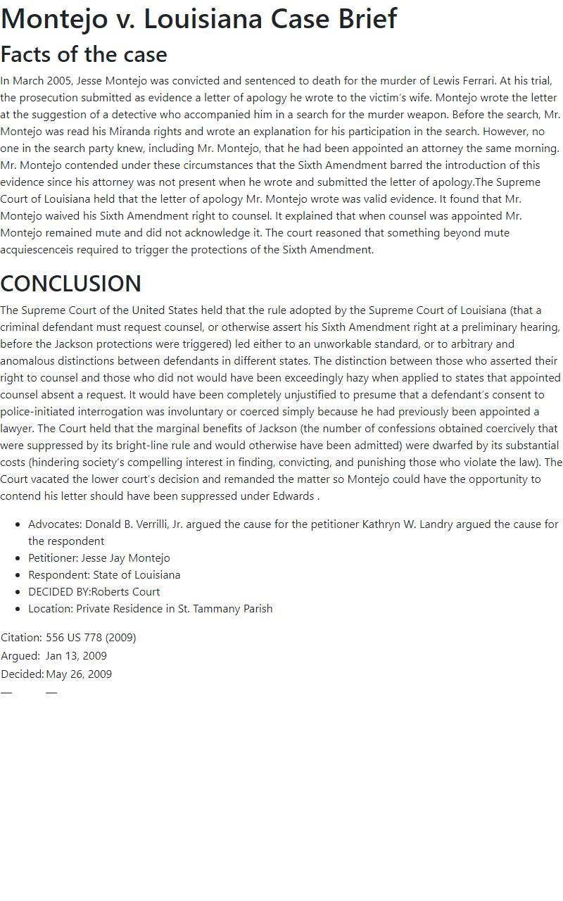 Montejo v. Louisiana Case Brief