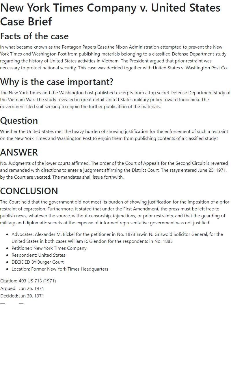 New York Times Company v. United States Case Brief