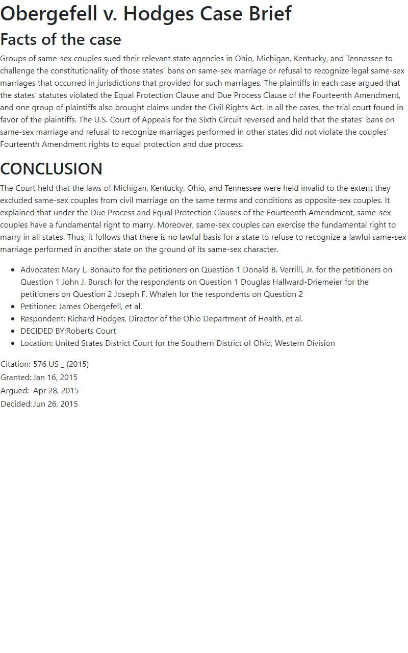 Obergefell v. Hodges Case Brief