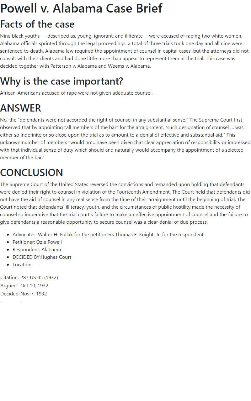 Powell v. Alabama Case Brief
