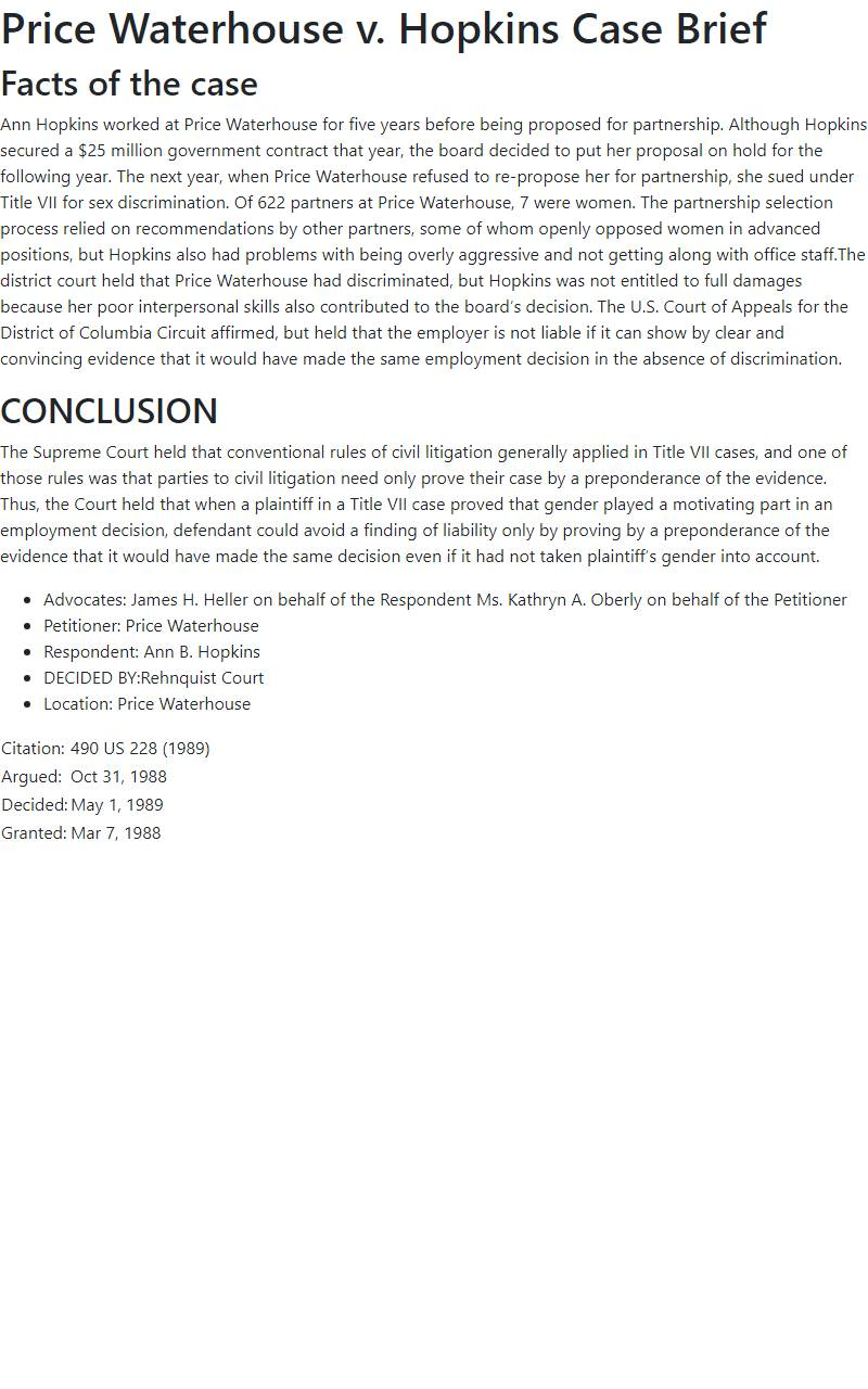 Price Waterhouse v. Hopkins Case Brief