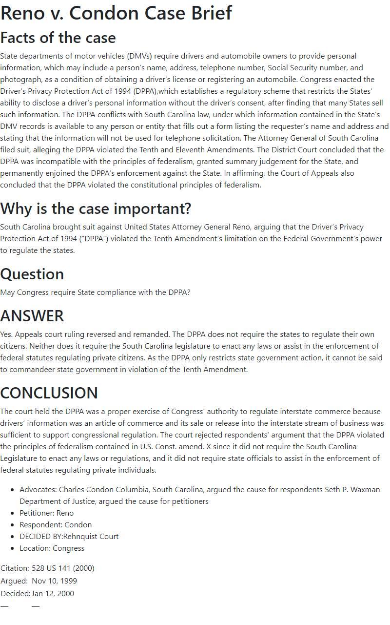 Reno v. Condon Case Brief