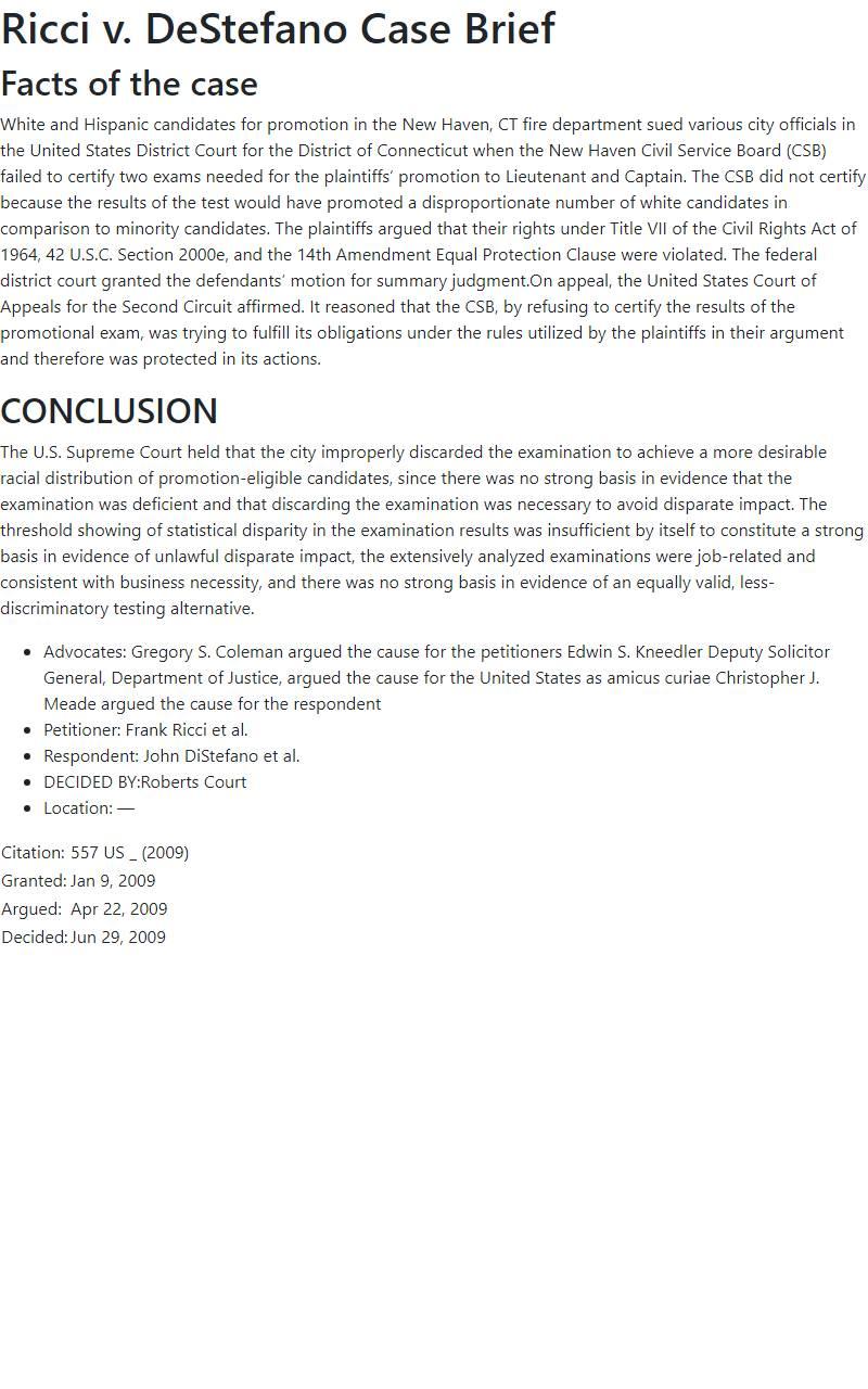Ricci v. DeStefano Case Brief