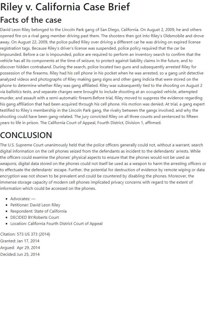 Riley v. California Case Brief