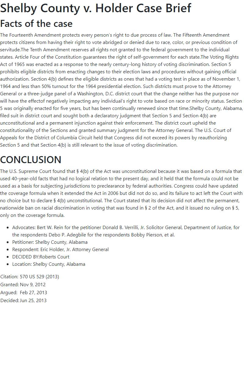 Shelby County v. Holder Case Brief
