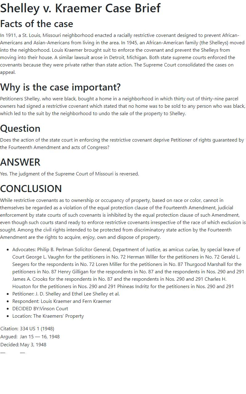 Shelley v. Kraemer Case Brief