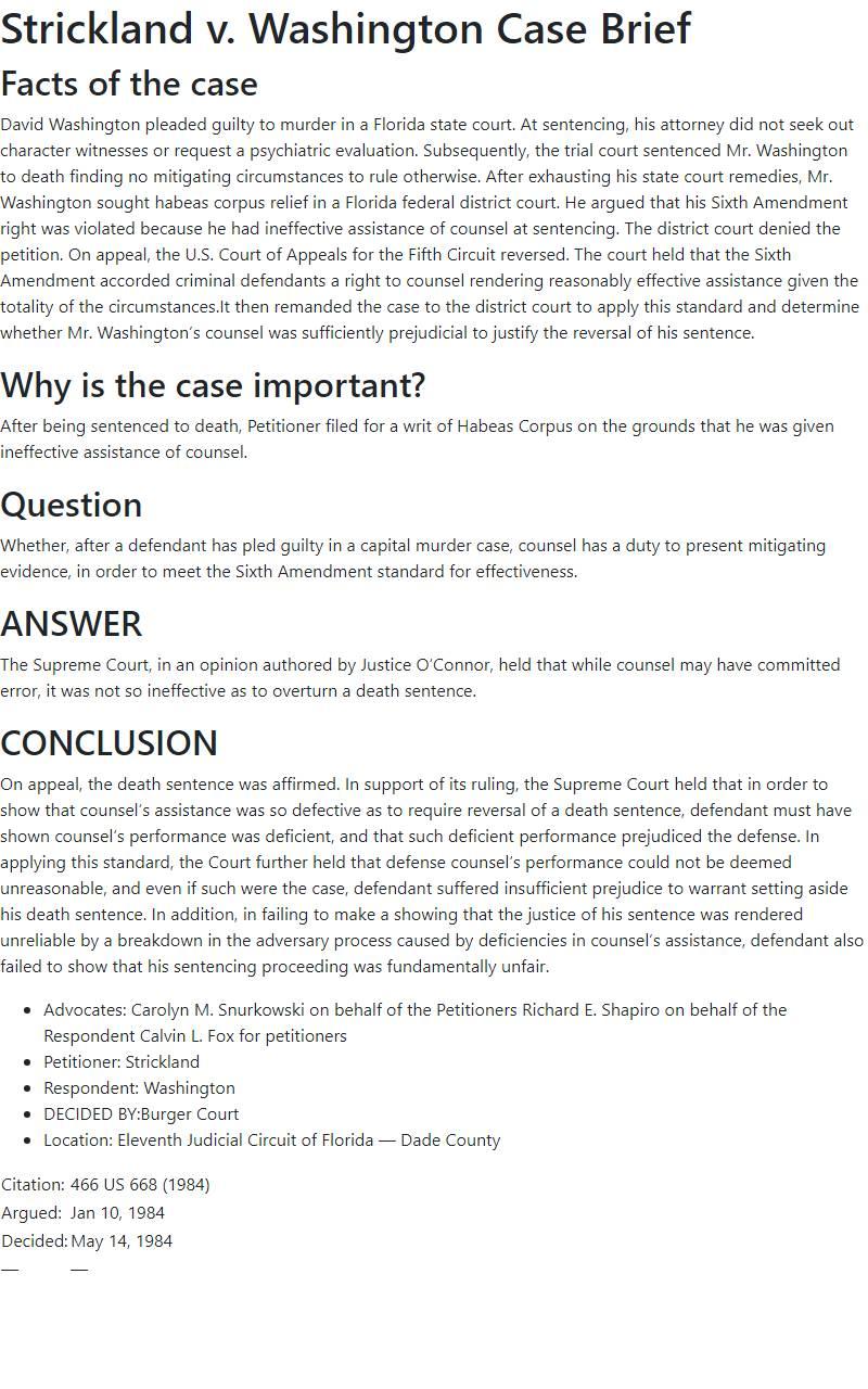 Strickland v. Washington Case Brief