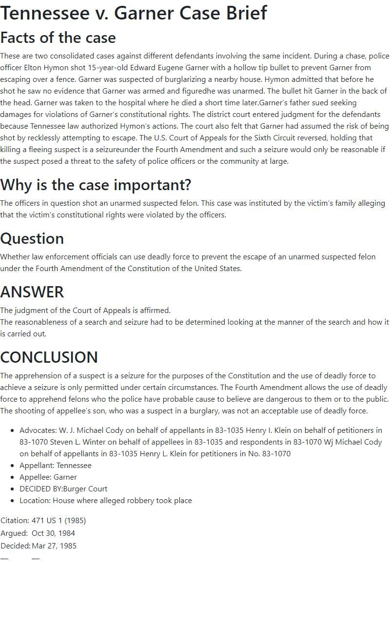 Tennessee v. Garner Case Brief