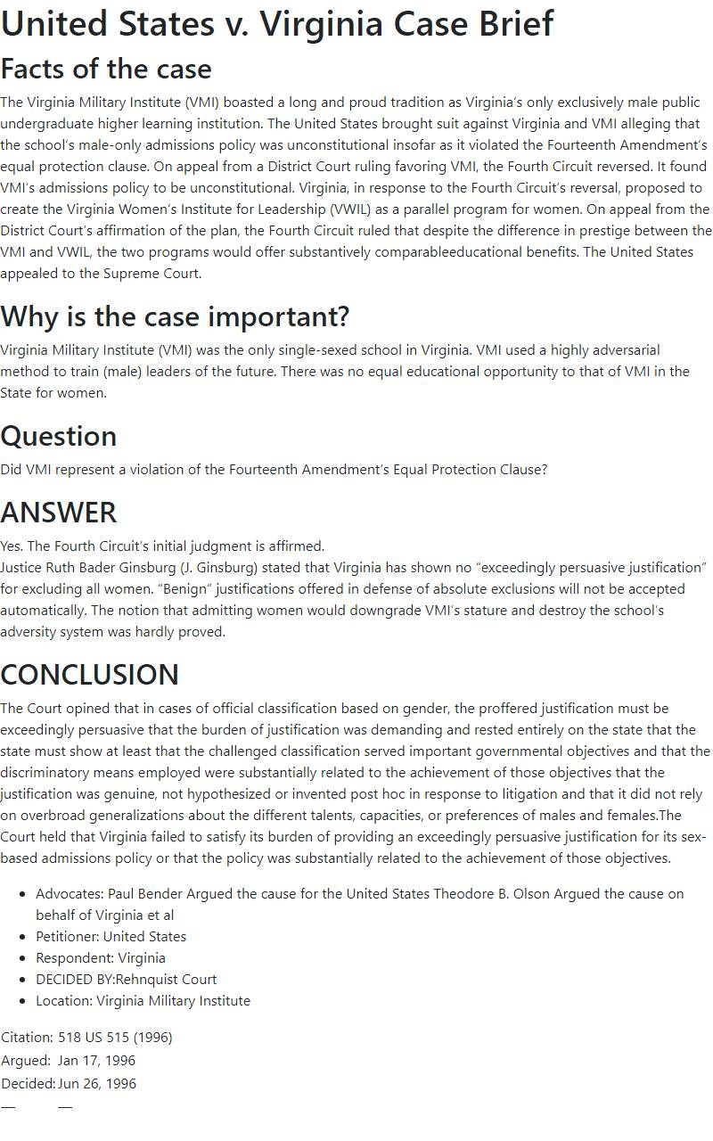 United States v. Virginia Case Brief
