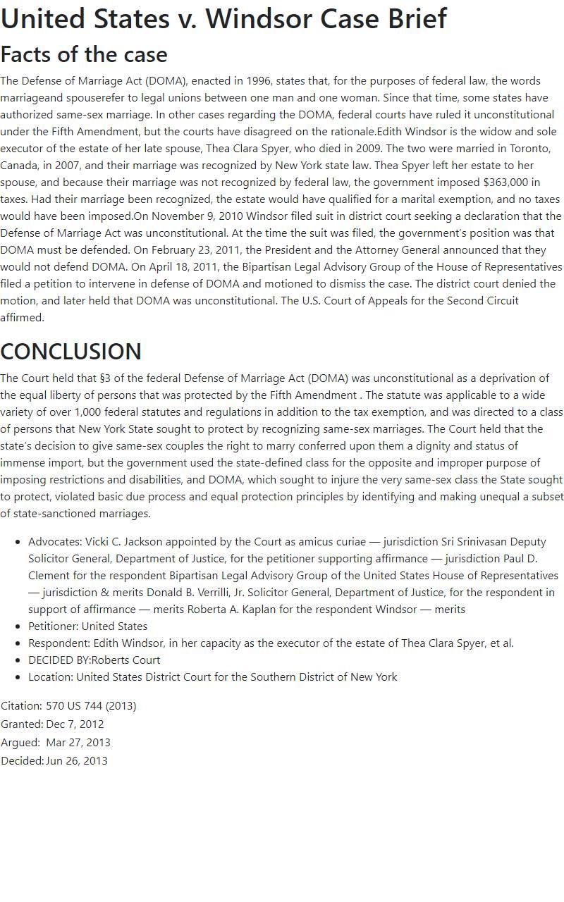 United States v. Windsor Case Brief