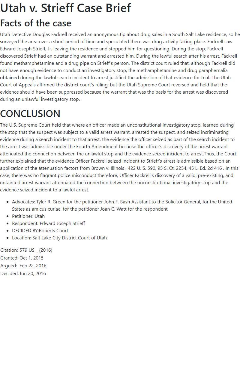 Utah v. Strieff Case Brief