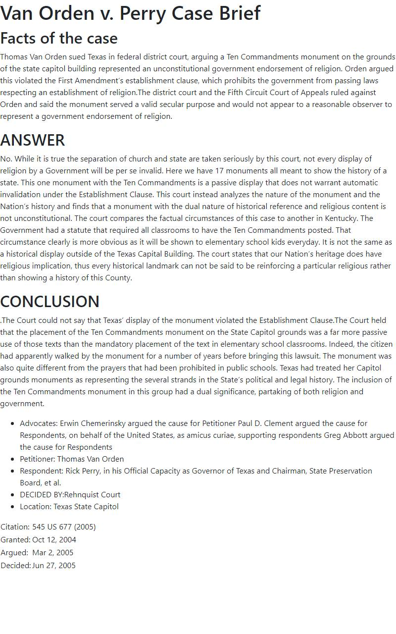 Van Orden v. Perry Case Brief