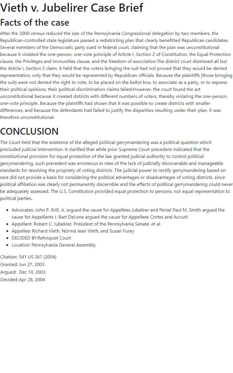 Vieth v. Jubelirer Case Brief
