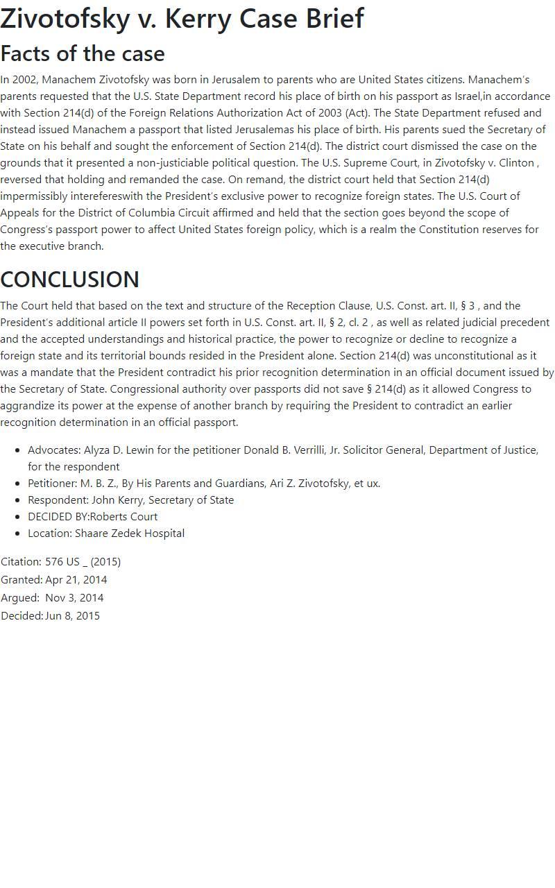 Zivotofsky v. Kerry Case Brief